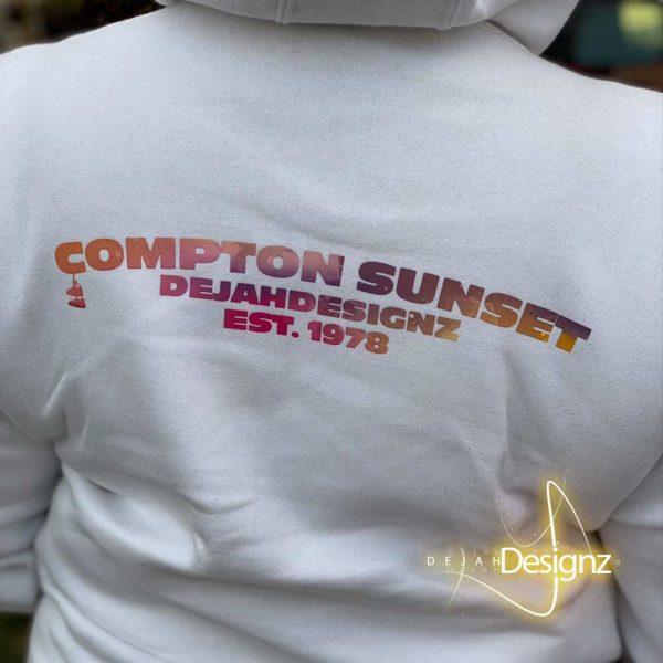 Compton Sunset Hoodie- White - back